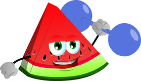 A slice of watermelon lifting weight Royalty Free Stock Images