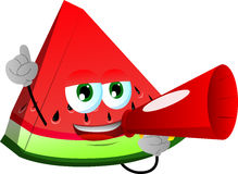 A slice of watermelon with megaphone Royalty Free Stock Image
