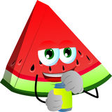 A slice of watermelon opening a beer can Royalty Free Stock Images