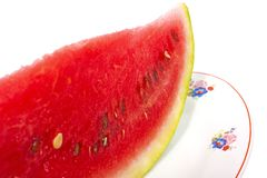 Slice of watermelon on plate Royalty Free Stock Photo