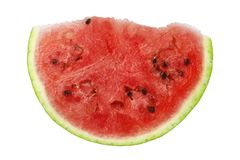 Slice of watermelon. Slice of ripe watermelon isolated on white royalty free stock image