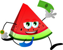 A slice of watermelon running with money Royalty Free Stock Photo