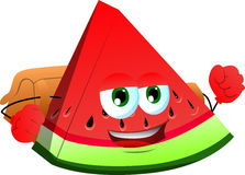 A slice of watermelon with school bag Royalty Free Stock Photos