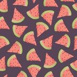Slice of watermelon seamless pattern on dark purple background. Slice of watermelon seamless pattern Vector illustration on dark purple background Royalty Free Stock Photos