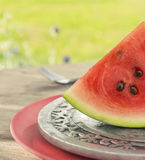 Slice of watermelon on silver plate Royalty Free Stock Image