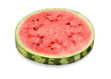Slice of watermelon. Single slice of ripe red watermelon isolated on white background royalty free stock images