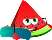 A slice of watermelon with skateboard Royalty Free Stock Photo