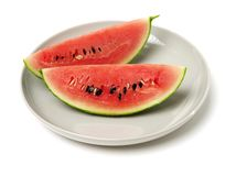 Slice of watermelon. On white background royalty free stock photos
