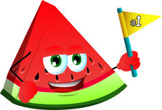 A slice of watermelon sports fan with flag Stock Images