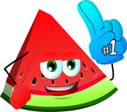 A slice of watermelon sports fan with glove Royalty Free Stock Images