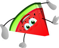 A slice of watermelon standing on one hand Stock Photography