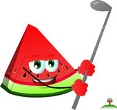 A slice of watermelon swinging his golf club Stock Photos