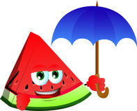 A slice of watermelon with umbrella Stock Photo