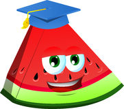 A slice of watermelon wearing graduation cap Stock Image