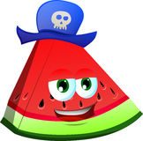 A slice of watermelon wearing pirate hat Stock Image