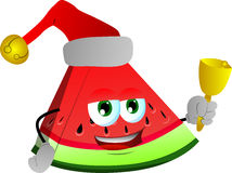 A slice of watermelon wearing Santa's hat and playing bell Royalty Free Stock Image