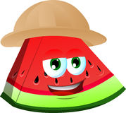 A slice of watermelon wearing scout or explorer hat Stock Photos