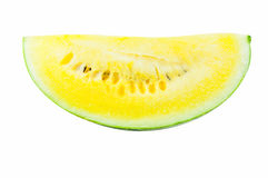 A Slice watermelon Yellow on white background Stock Photo