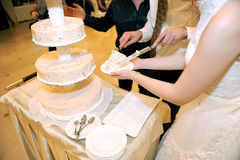 Slice of Wedding Cake. Bride and groon cut wedding cake together Royalty Free Stock Image