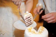 Slice of Wedding Cake. Young couple holding appetizing slice of wedding cake Stock Photography