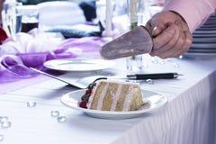 Slice of Wedding Cake. Groom cutting wedding luxury cake Stock Photography