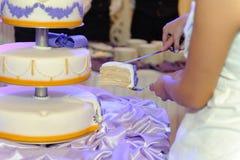 Slice of Wedding Cake. With violet decoration Stock Image