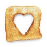 Slice of white bread heart shape Royalty Free Stock Photos