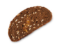 Slice of whole grain rye bread isolated on white background Royalty Free Stock Image