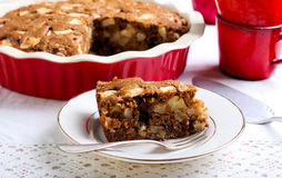 Slice of whole wheat apple cake Stock Photo
