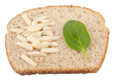 Bread, Spinach And Almonds Royalty Free Stock Images