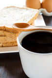 Slice whole wheat bread with black coffee Royalty Free Stock Photos