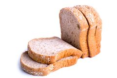 Slice whole wheat bread isolated on white background.  royalty free stock images