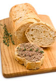 Slice of whole wheat bread with pate Stock Images