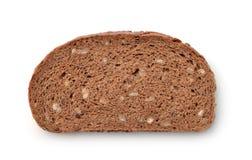 Slice of wholegrain rye bread with bran Stock Image