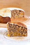 Slice of wholewheat apricot cinnamon cake Royalty Free Stock Photography