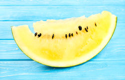Slice yellow watermelon Stock Photo