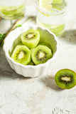 Sliced kiwi for a drink with mint and lemon Stock Photo