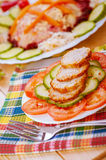 Sliced meatballs with cucumbers Stock Photos