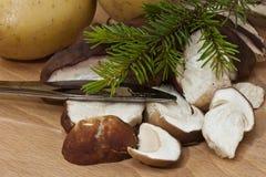 Sliced mushrooms Stock Photos