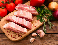 Sliced ��pieces of raw Meat for barbecue Royalty Free Stock Images