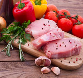 Sliced ��pieces of raw meat for barbecue Stock Photo