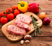Sliced ��pieces of raw meat for barbecue Stock Photography