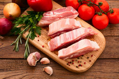 Sliced ��pieces of raw meat for barbecue Royalty Free Stock Image