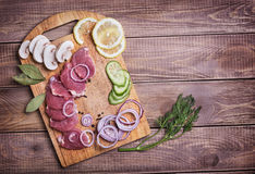 Sliced ��raw meat pork Stock Images