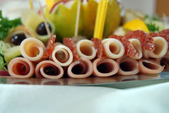 Platter of assorted cold cut meat slices. Pic of Platter of assorted cold cut meat slices Stock Images