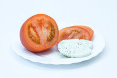 Sliced ​​tomato and mozzarella Royalty Free Stock Photos
