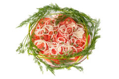 Sliced tomatoes and onions on a plate. Sliced tomatoes and onions on a saucer on a white background Royalty Free Stock Photos