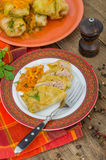 Sliced ​stuffed cabbage roll. On the plate Royalty Free Stock Photography