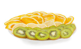 Sliced fruit on a plate Stock Image
