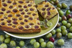 Sliced homemade pie with gooseberries on plate royalty free stock images
